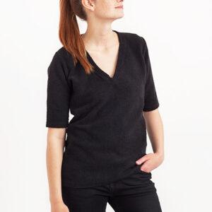 Tričko Jednobarevná KOIVU V-Neck Black - KOIVU