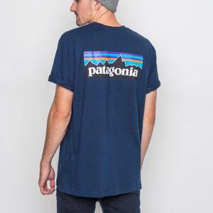 Tričko Logo tee Patagonia M's P-6 Logo Cotton T-Shirt Navy Blue - Patagonia
