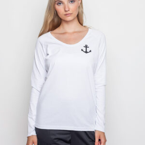 Tričko Triko Makia Anchor Long Sleeve White - Makia