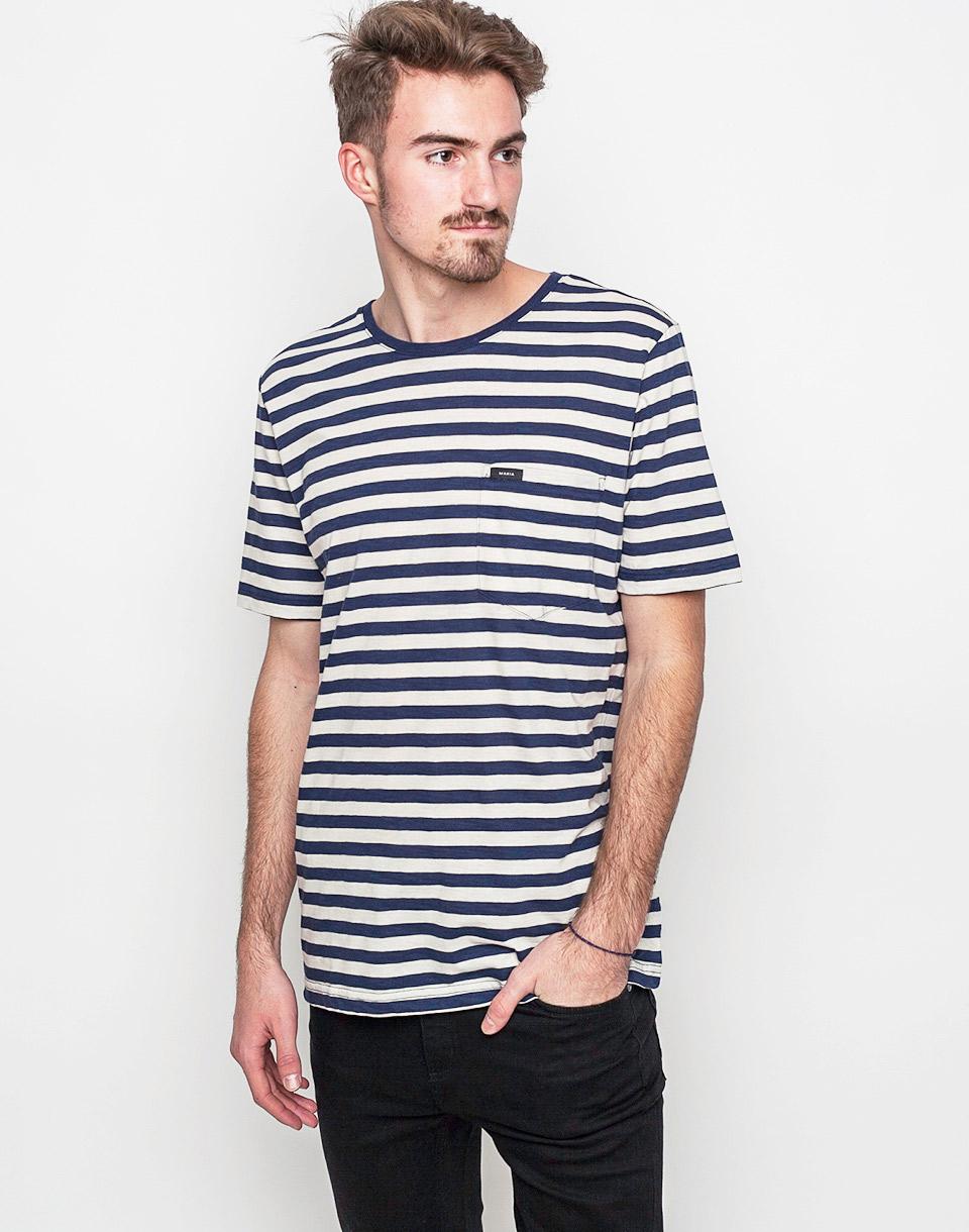 Tričko Triko Makia Verkstad White - Navy - Makia